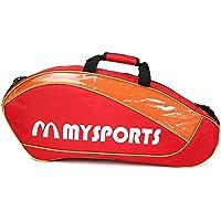 調整可能なショルダーストラップバドミントンラケットカバーバドミントンラケットバッグテニスバッグ(3ラケット)、赤