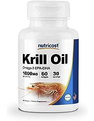 Nutricost オキアミ油ソフトジェル 1000mg, 60 液体ソフトジェル-オメガ 3 EPA-DHA