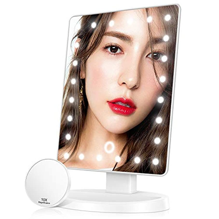 雄弁な路地落ち込んでいる化粧鏡 卓上 LED付き10倍拡大鏡付き 明るさ調節 180度回転 USB/単三電池給電