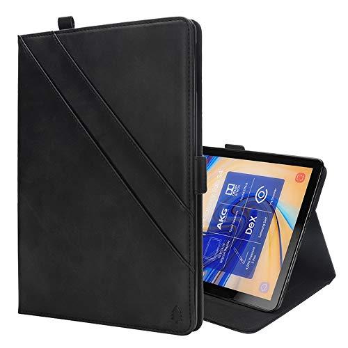GzPuluz 保護ケース PCアクセサリー Galaxy Tab S4 10.5 T830 / T835用カードスロット&フォトフレーム&ペンスロット付き、水平フリップダブルホルダーレザーケース (色 : Black)