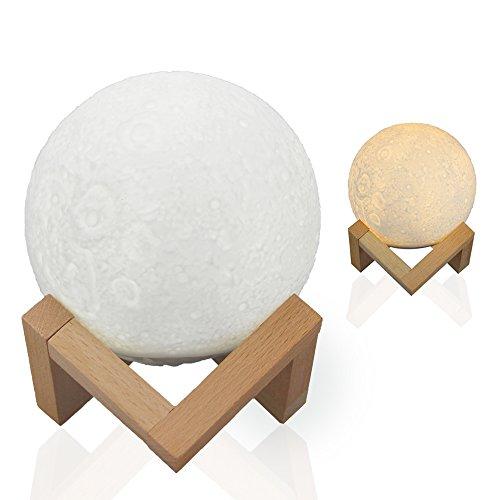 ☪月のラ Shome 間接照明 ベッドサイドランプ、ルームライト、USB充電式のテーブルランプ、雰囲気作り、インテリア照明、叩くと調光できるLEDライト、三色切り替える、無段階調光可能のナイトライト、3D立体効果、月のライト、癒し、おしゃれの高級上品、プレゼントにおすすめ(13CM) …