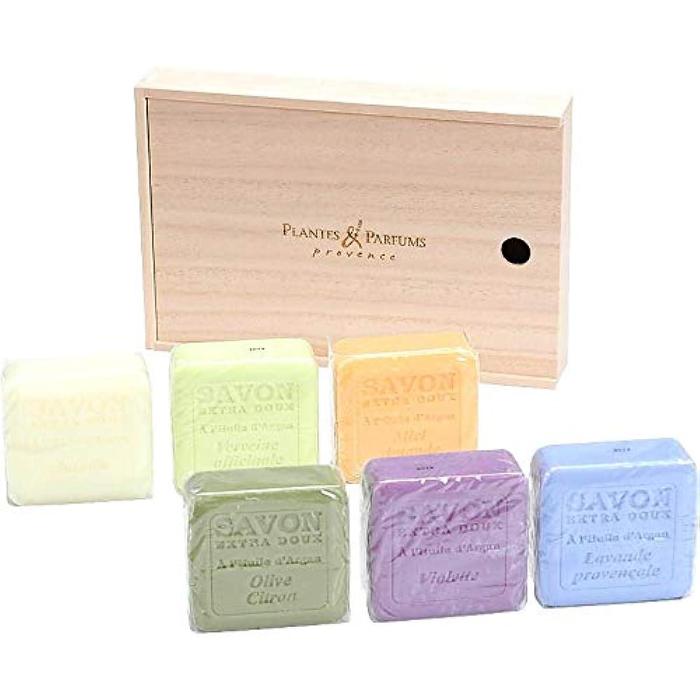 冷ややかな貢献する典型的な(プランツ&パルファム/Plantes & Parfums) アルガンオイルソープ6個セット (桐箱入り) (676-0376r)