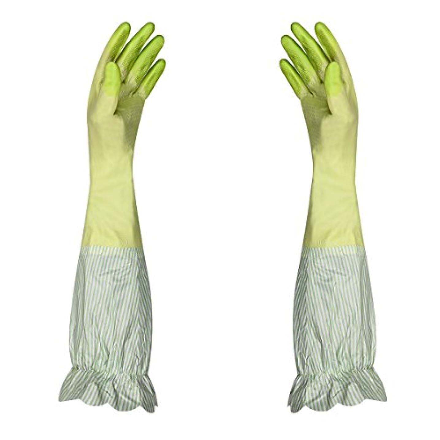 皿フラスコ送るキッチングローブ 天然ゴム手袋 中厚手 裏起毛 炊事 家庭用 掃除用 防水 滑り止め 可愛い花柄 (グリーン)