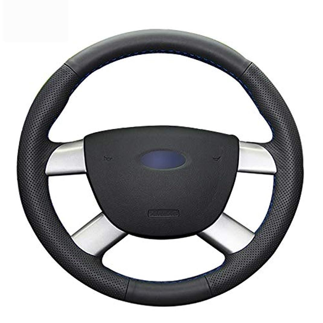 故障中代数死んでいるJTSGHRZ 車のステアリングホイールカバー Ford Kuga 2008-2011 C-MAX 2007-2010、ハンドステッチブラック本革ステアリングホイールカバー