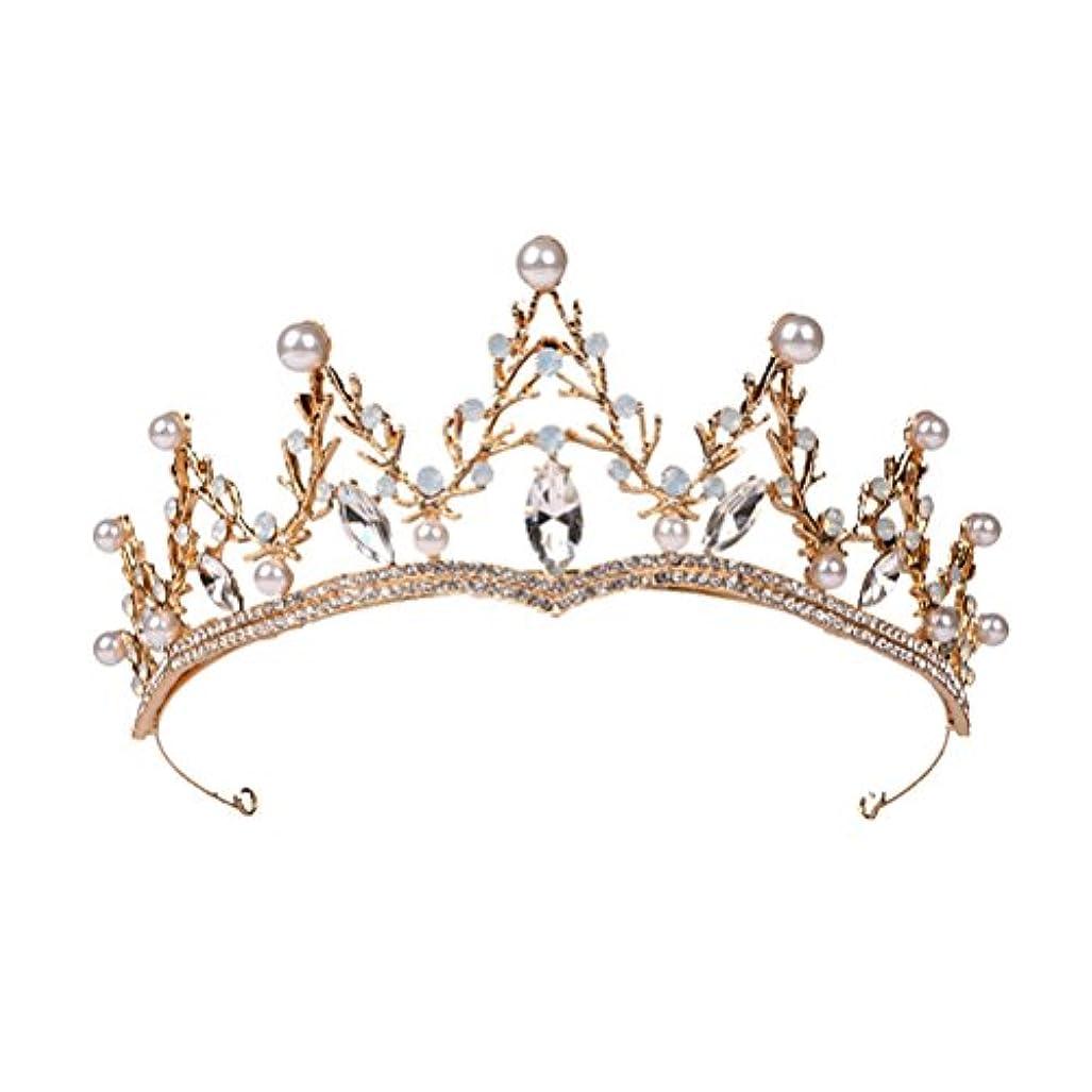 くま豆腐統合LUOEM ブライダル ティアラ ヘアバンド 花嫁 結婚式 ウェディング 王冠 クラウン クリスタル 髪飾り ヘアアクセサリー(ゴールド)
