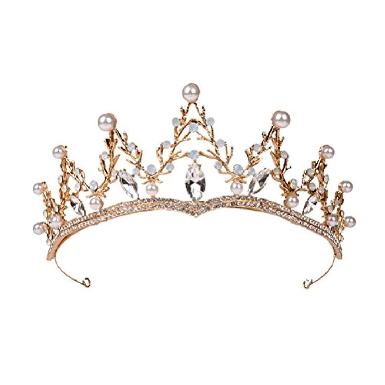 威する絵運河LUOEM ブライダル ティアラ ヘアバンド 花嫁 結婚式 ウェディング 王冠 クラウン クリスタル 髪飾り ヘアアクセサリー(ゴールド)