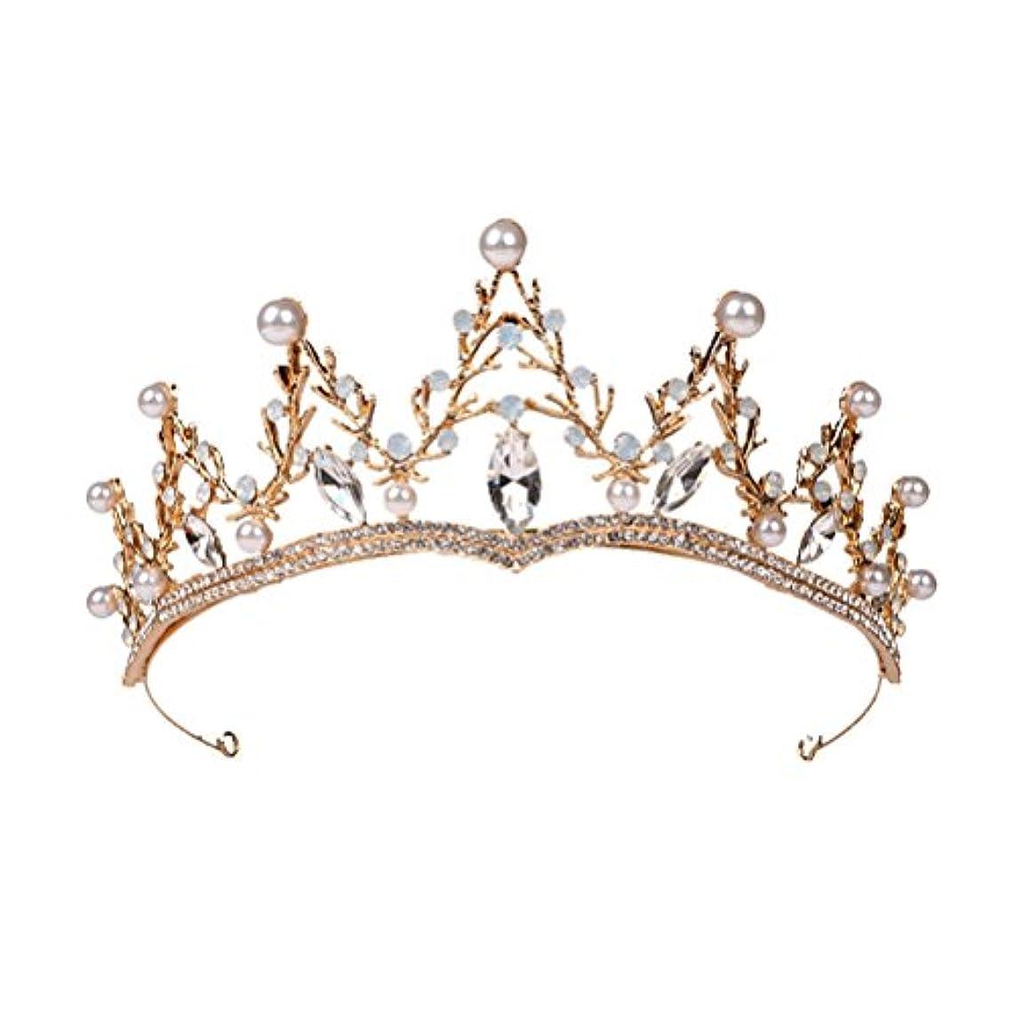 どっち感心する通常LUOEM ブライダル ティアラ ヘアバンド 花嫁 結婚式 ウェディング 王冠 クラウン クリスタル 髪飾り ヘアアクセサリー(ゴールド)