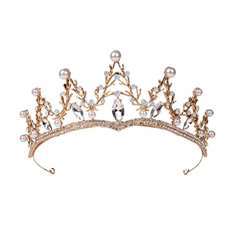 クーポン名門成長するLUOEM ブライダル ティアラ ヘアバンド 花嫁 結婚式 ウェディング 王冠 クラウン クリスタル 髪飾り ヘアアクセサリー(ゴールド)