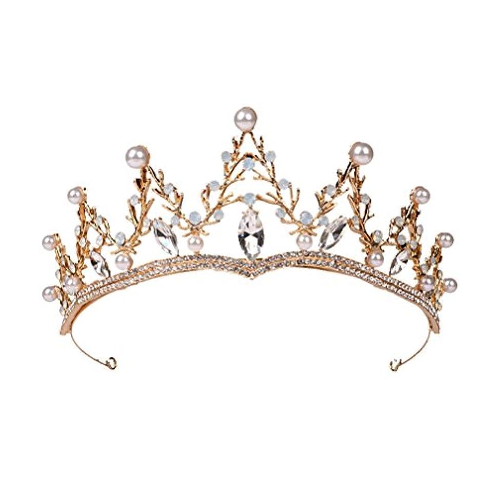 すき無駄だ不利LUOEM ブライダル ティアラ ヘアバンド 花嫁 結婚式 ウェディング 王冠 クラウン クリスタル 髪飾り ヘアアクセサリー(ゴールド)