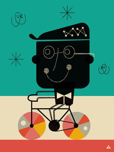 Oopsy Daisy Bicycle Man By Eric Comstockキャンバス壁アート、...