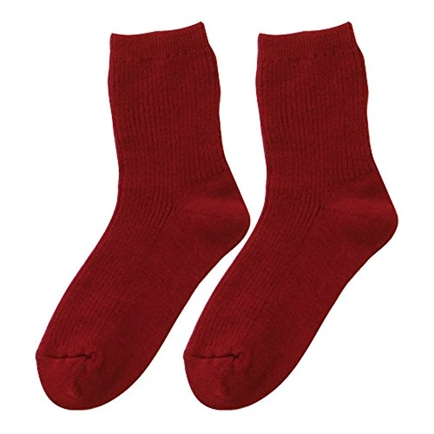 霧深いハング暴動ひだまり ダブルソックス 婦人用 靴下[22~24cm] エンジ