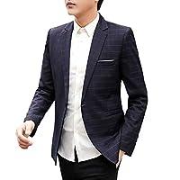 [FOMANSH] テーラードジャケット メンズ スリム チェック柄 1つボタン 大きいサイズ ビジネス スーツジャケット ブレザー 春 秋