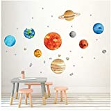 Plant Wall Decals, H2MTOOL Removable Solar System Watercolor Wall Stickers for Kids (Plants)