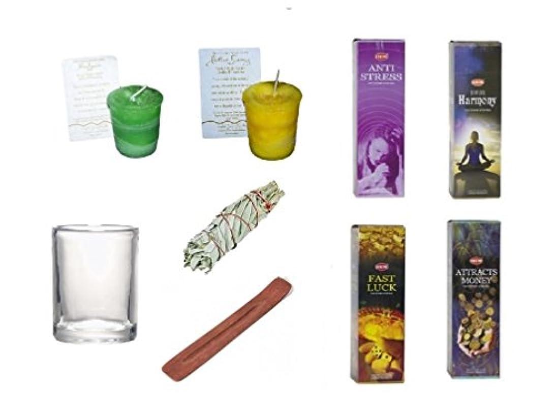裾&クリスタルJourney Candle Set ~ストレス、ハーモニー、高速Luckの裾、attracts money Incense &クリスタルJourney 's正エネルギー& Abundance Votive...