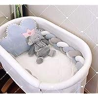 Rart 無衝突赤ちゃん編組枕, ベビーベッド バンパーを編組 枕クッション睡眠バンパー まぐさ桶の寝具ソフト三つ編みクッション安全プロテクター-E 100cm(39inch)