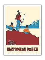 国立公園 - ネイティブアメリカン - ビンテージな世界旅行のポスター によって作成された ドロシー・ワー c.1935 - アートポスター - 23cm x 31cm