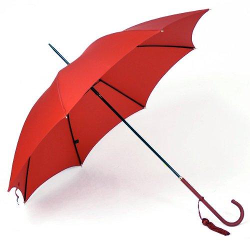 (フォックスアンブレラズ) FOX UMBRELLAS レディース 長傘 レッド WL1 SLIM LEATHER CROOK HANDLE RED [並行輸入品]
