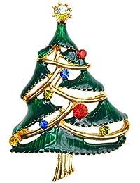 グリーンエナメル&オーストリアクリスタル/ディアマンテゴールドメッキの伝統的なお祝いクリスマスツリーのブローチ/ピンの美しいキラキラシルバーギフトボックス