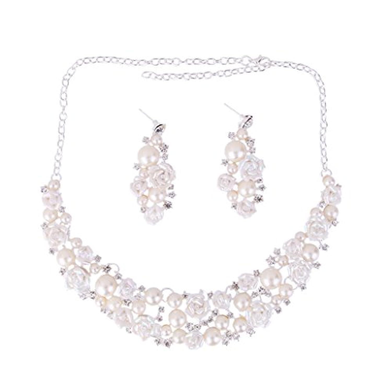【ノーブランド 品】ロース型 結婚式 花嫁 人造真珠 ネックレス ピアスペンダント ジュエリーセット  ギフト