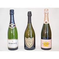 ドンペリ白飲み比べ3本セット ドンペリ白・ヴーヴ・クリコ・ローズラベルブリュット・JMクレマン・ド・ロワール750ml×3本