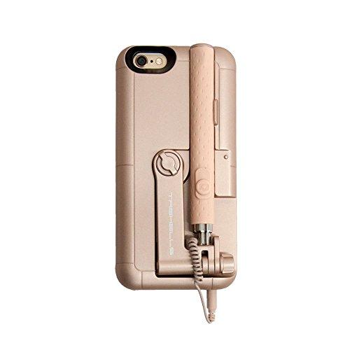 iPhone6 iphone6s ハードカバー built-in自撮り棒ケース ゴールド I6S-JBC-16-117GD