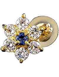 [アトラス] Atrus ピアス メンズ 片耳 18金 イエローゴールドk18 キュービックジルコニア ブルーサファイア フラワー スタッドピアス 9月誕生石 宝石 青い宝石