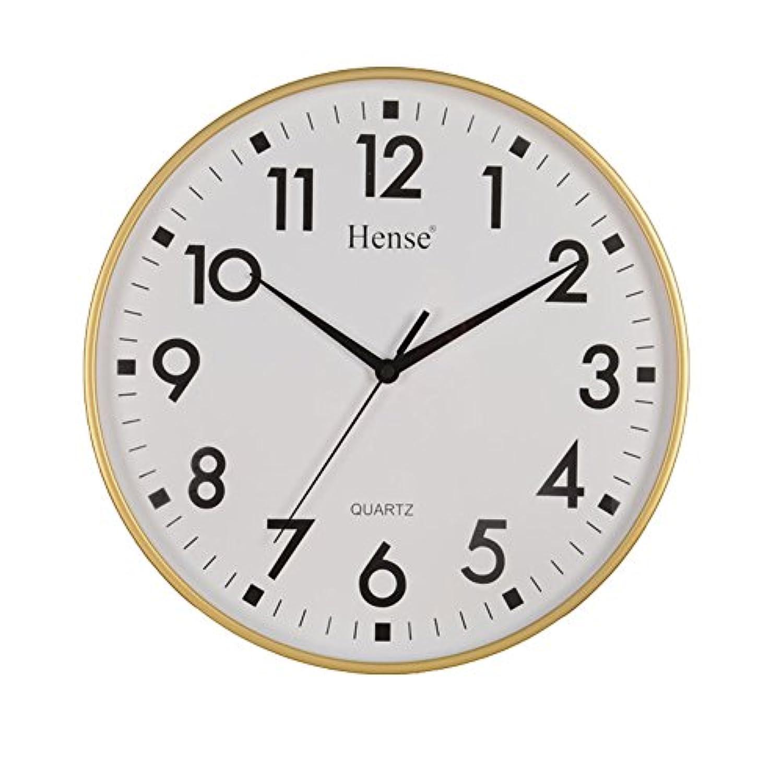 HENSE CLOCKS(ハンセ) 壁掛け時計 アナログ表示 薄型 連続秒針 シンプル ゴールデンHW55-01 金色