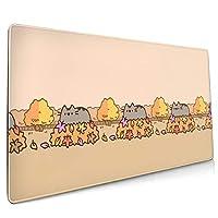 葉っぱ プシーン ねこ アニメ 漫画 ゲーム マウスパッド キーボードパッド 滑り止め 900x400 Mm 超大型 ゲーミングマウスパッド デスクマウスパッド レーザー&光学式マウス対応
