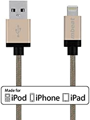 mbeat Braided Nylon MFI USB Cable Data Sync & Charging Lightning to iPhone/iPad/iPod 2m - Gold