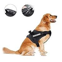 アイリスカーゴプル犬用ハーネスベストハーネス調節可能ミディアム犬子犬ハーネス反射性通気性、黒