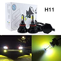FidgetGear ハイパワー3Kイエロー80W 8000LM G5 LED H11フォグランプランプ変換キット電球