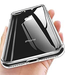 【Humixx】iphone8plus ケース iphone7plus ケース 日本旭硝子製 高透明感 クリア 9H強化ガラス仕様 黄変防止 ハイブリッドケース ストラップホール付き 滑り止め付き[Crystal Series]
