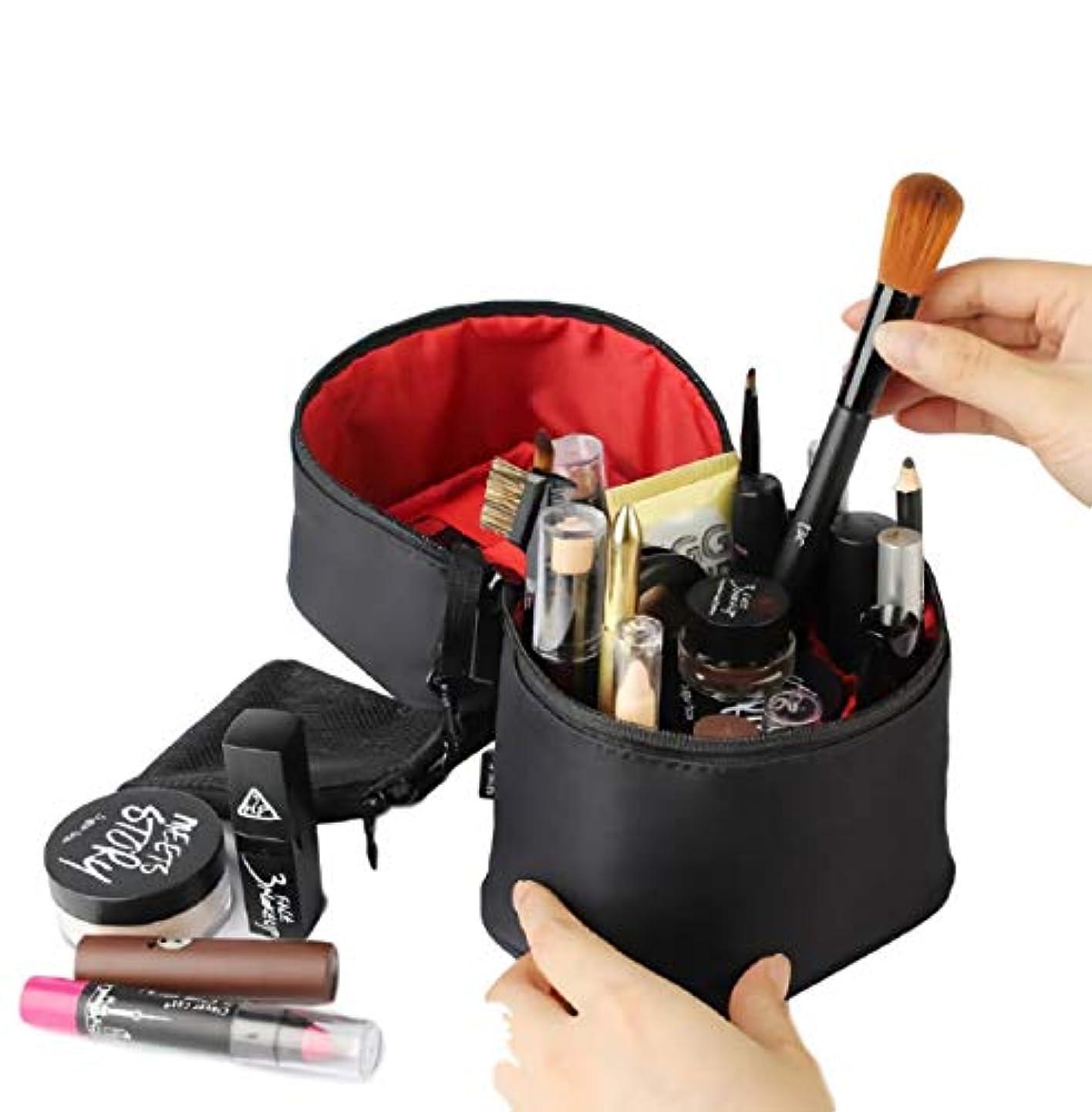 [ウレギッシュ] コスメボックス 化粧ポーチ コンパクト 仕分け 収納 縦型 メイク バニティーケース 大容量 (ブラック イン レッド)