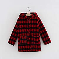 Fashion Plaid Children Coat Button Closure Hooded Jacket Outerwear Woolen Coat BabyProducts