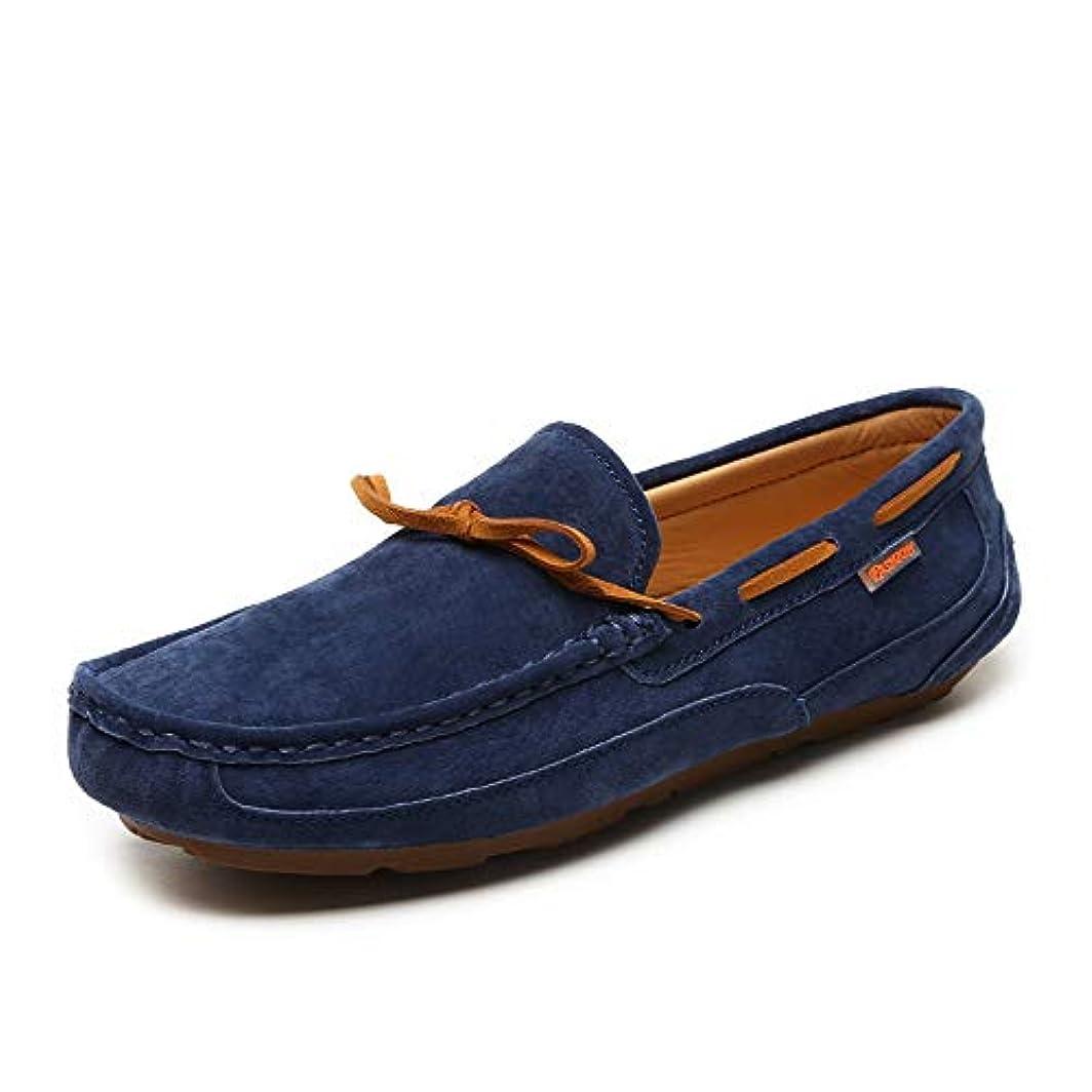 まっすぐ提案囲いボートシューズ モカシン メンズレースアップシューズ カジュアルスエードシューズ 運転靴 フラットシューズ(サイズ:24.0cm?27.0cm)ブルーモカシン (サイズ : 265)