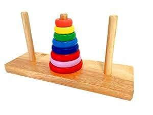 木のぬくもり 優しい おもちゃ カラフル ハノイの塔 積み木 考える力 幼児 知育 木製パズル