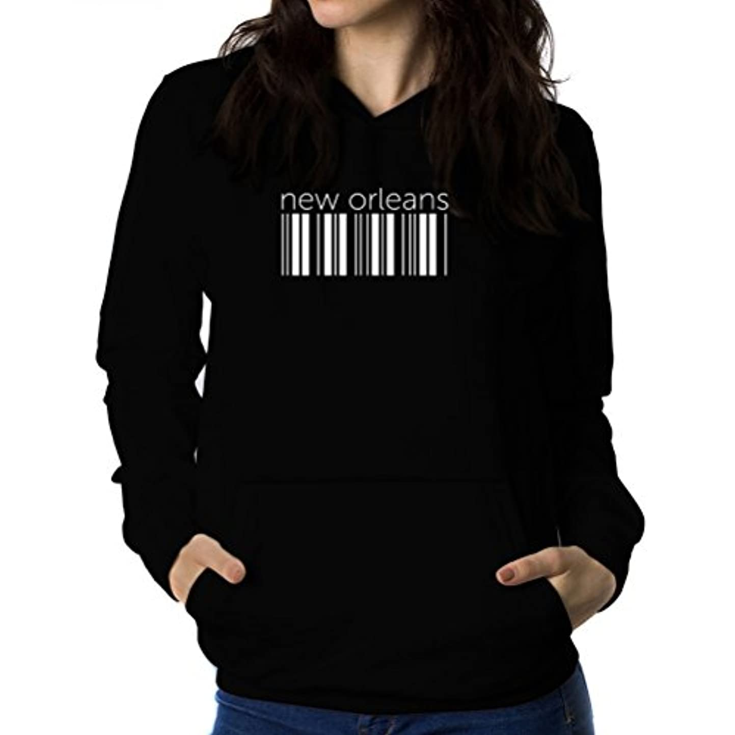 前進喉が渇いた支配するNew Orleans barcode 女性 フーディー