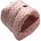 WowowMeow Small Animals Warm Cage Hanging Cave Bed for Chinchillas, Guinea Pigs, Hamsters, Rats, Squirrel and Rabbits (M, Pink- Star)