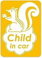 imoninn CHILD in car ステッカー 【マグネットタイプ】 No.36 リスさん (黄色)
