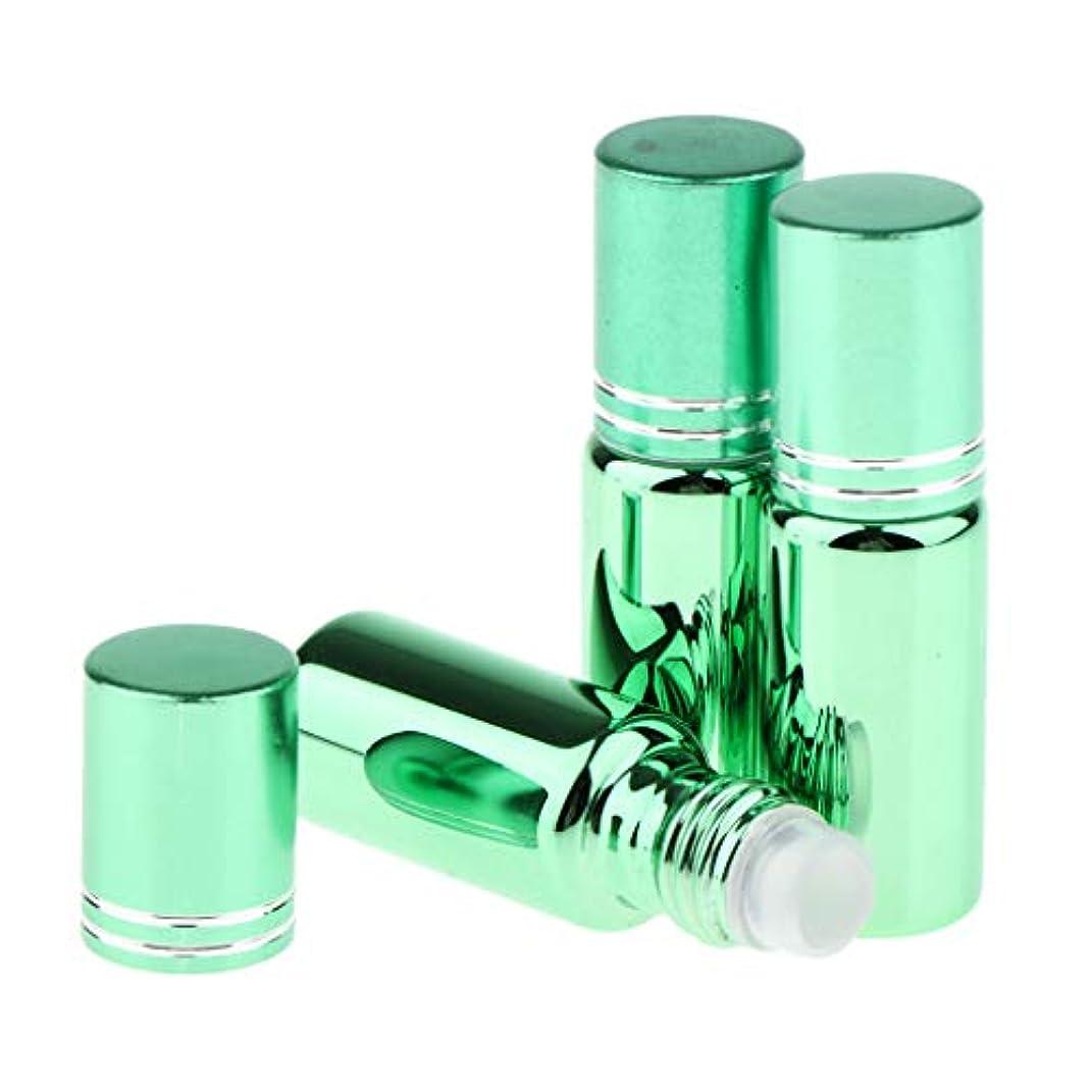 排気手伝うジョージスティーブンソン香水 ロールオン アトマイザー ローラーボトル 容器 アロマテラピー バイアル 全6色 - 緑