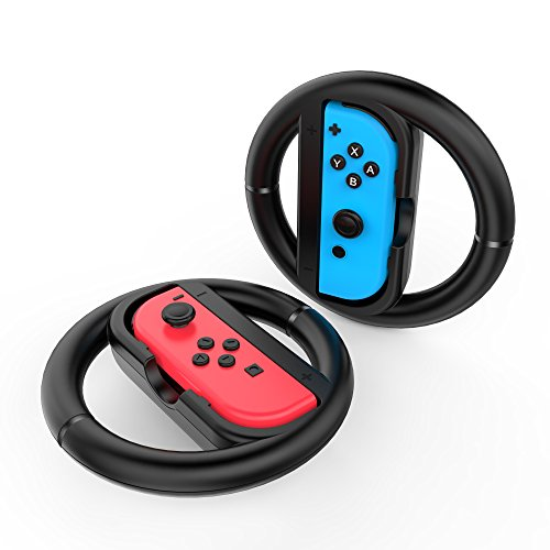 GameWill Joy-Conハンドル2個セット Nintendo Switch対応 マリオカート8 デラックス専用(ブラック)