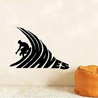 Ansyny サーファー乗馬ビニールウォールステッカーサーフ波壁アートデカール用サーフィンクラブスポーツルーム装飾壁紙用寝室