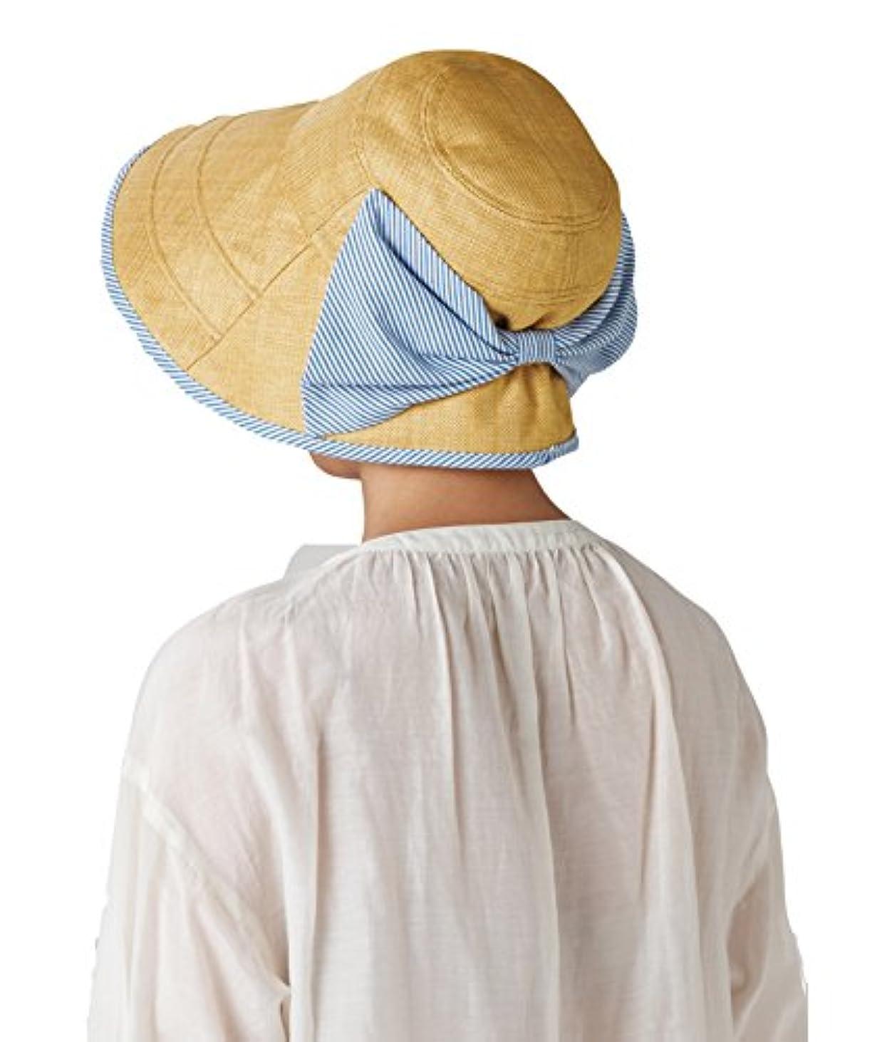 ぜいたくピボット日セルヴァン 大きなリボンのつば広日よけ帽子 ベージュ