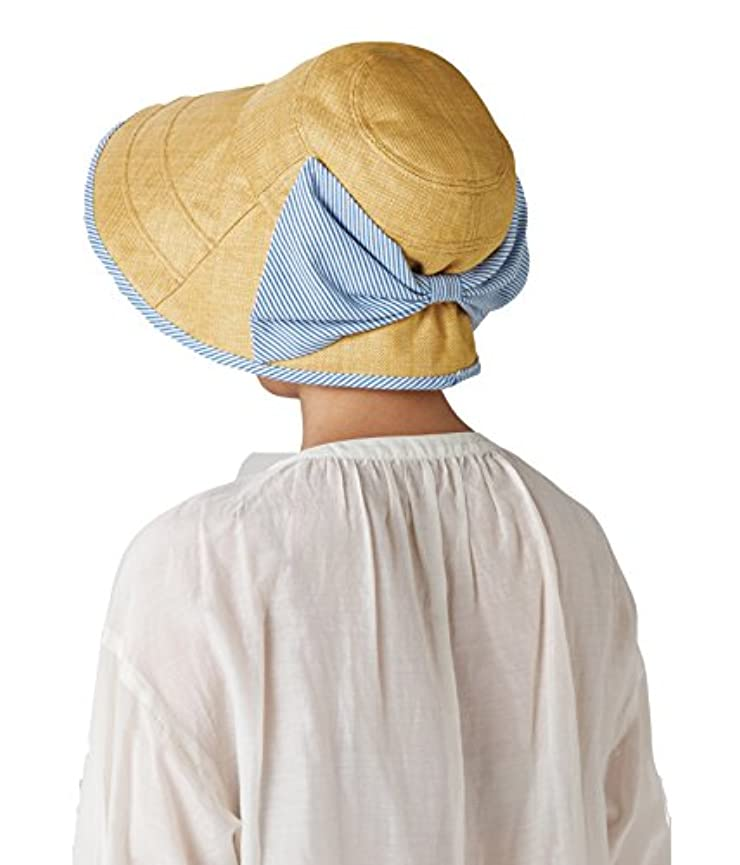 賛辞バンケット教えセルヴァン 大きなリボンのつば広日よけ帽子 ベージュ