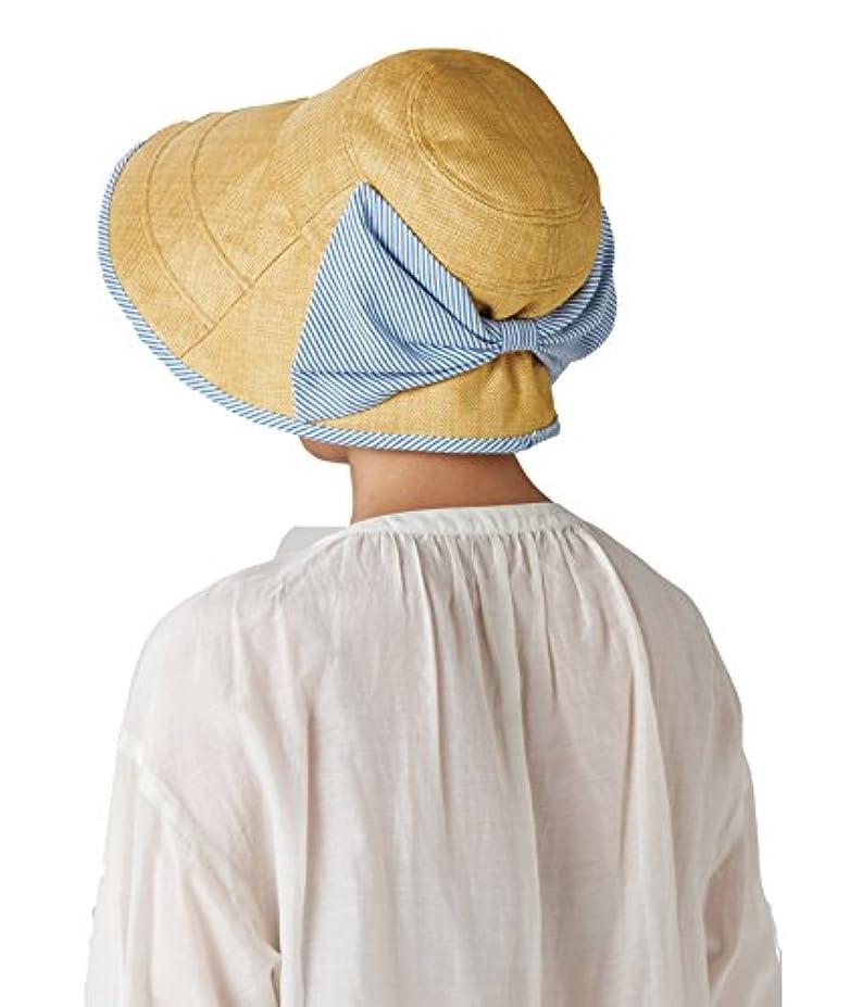 永久レンダー流すセルヴァン 大きなリボンのつば広日よけ帽子 ベージュ
