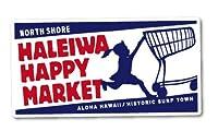ハレイワハッピーマーケット ステッカー ロゴ スクエア ブルー HHM056 おしゃれ ハワイ ノースショア グッズ