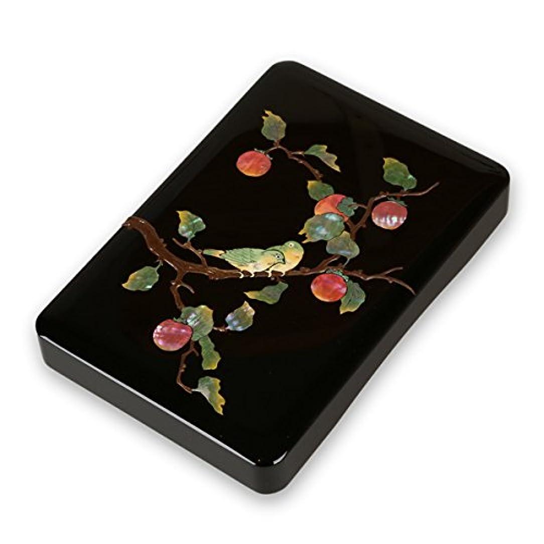 世界記録のギネスブック後方に不忠硯箱 すずり箱 螺鈿(らでん) 柿に目白5.5寸 高岡漆器