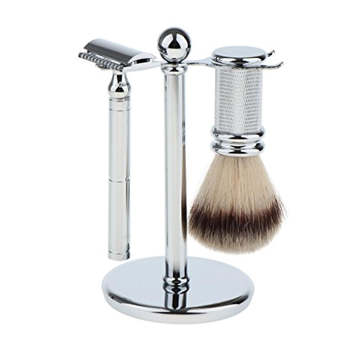 リットルベル魅力的Kesoto スタンド ブラシ マニュアルシェーバー 3本セット 男性用 シェービング ブラシスタンド マニュアル ダブルエッジ 安全剃刀