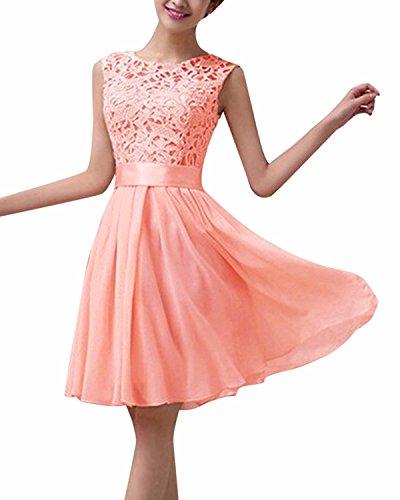 ZANZEA レディース ドレス ワンピース レース フォーマル ノースリーブ ひざ丈 披露宴 パーティー 結婚式 ワンピース ドレス y-ピンク L