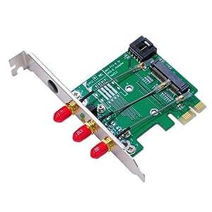 MP2W-RPSMA v2.2 : 無線LAN / Bluetooth 通信MiniCard用PCIeアダプタ v2.2 PCIeとUSB両対応のため、無線LAN/WiFiとBluetoothコンボのMiniCard / mPCIeカードをデスクトップPCで利用する。IPX-RPSMAケーブルは3つ付属です。標準プロファイルのブラケットを使えば最大4本、ロープロファイルのブラケットでも最大3つのアンテナを配置できます。